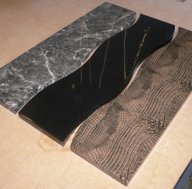 Marble, Carbon and Crocodile skin dipped chest of draw fronts