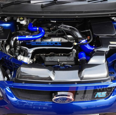 Ford Focus RS with carbon dipping on engine bay plastics
