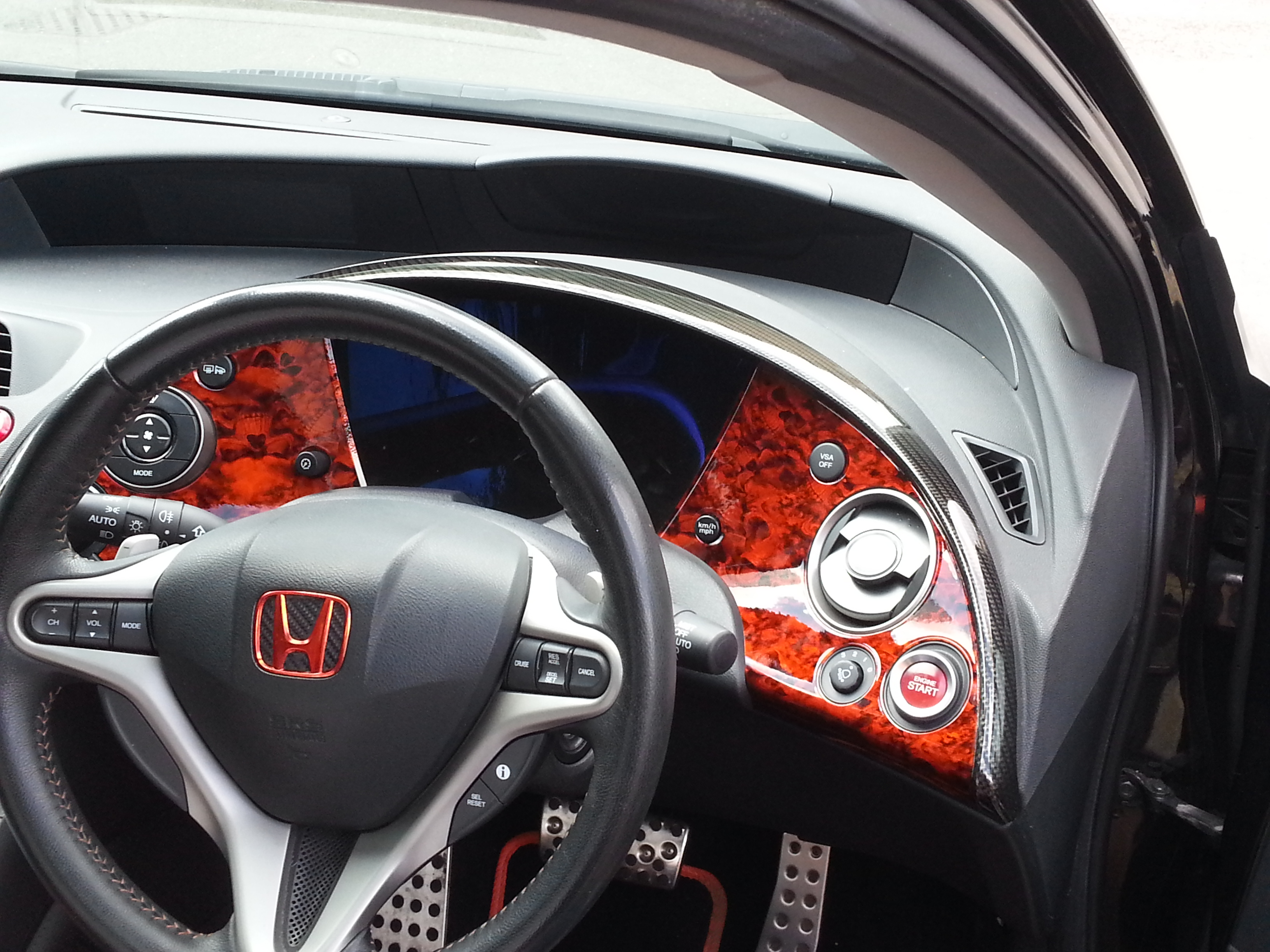 honda civic dashboard after awesome hydro dipping by wicked coatings. Black Bedroom Furniture Sets. Home Design Ideas