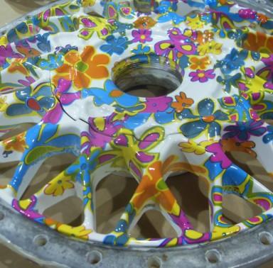 Wheel cover  custom dipped in flowers