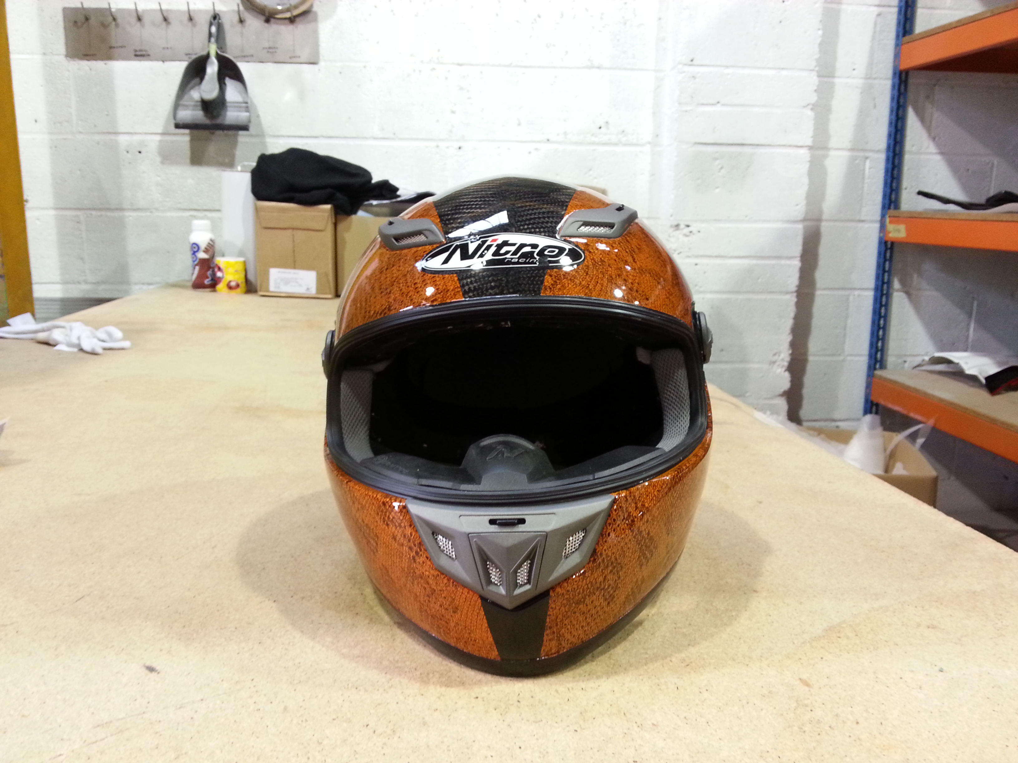 Motorbike Helmet Coated In Snake Skin Hydrographic Film